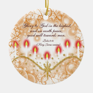 Christian verse Christmas candles Ceramic Ornament