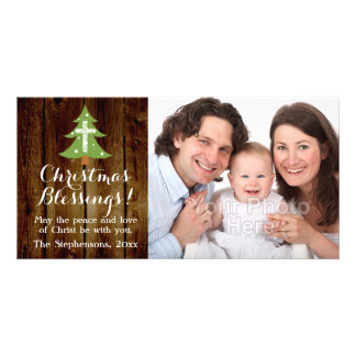 Christian Vintage Country Christmas Cross Tree Photo Card