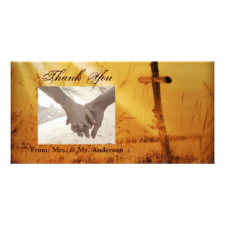 Christian vintage country cross wedding photo greeting card