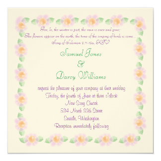 Christian Wedding Invitation - Purple flowers