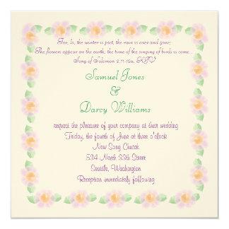 "Christian Wedding Invitation - Purple flowers 5.25"" Square Invitation Card"