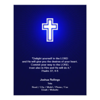 Christian White Cross on navy blue background 11.5 Cm X 14 Cm Flyer