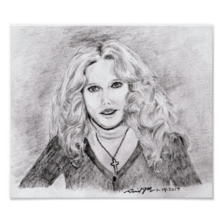 Christian Woman Pencil Drawing Poster