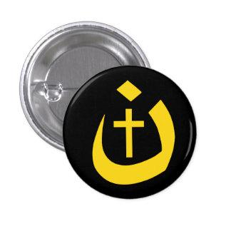 CHRISTIANITY SOLIDARITY - NAZARENE SYMBOL & CROSS 3 CM ROUND BADGE