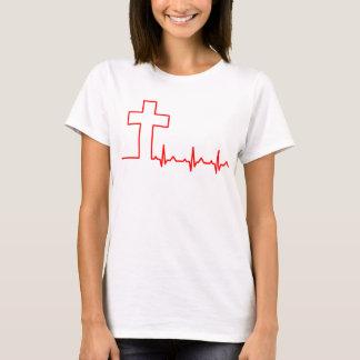 Christians Cross Heartbeat Life EKG ECG T-Shirt