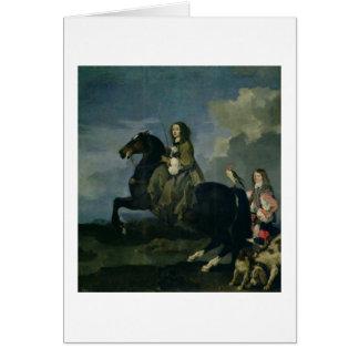 Christina of Sweden (1626-89) on Horseback, 1653 ( Card