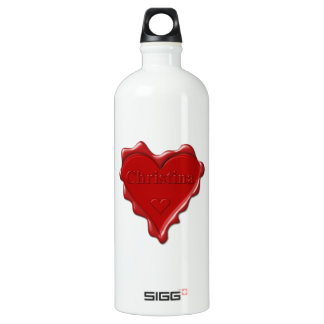 Christina. Red heart wax seal with name Christina. Water Bottle