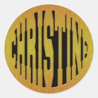 CHRISTINE - GOLD TEXT CLASSIC ROUND STICKER