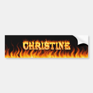 Christine real fire and flames bumper sticker desi