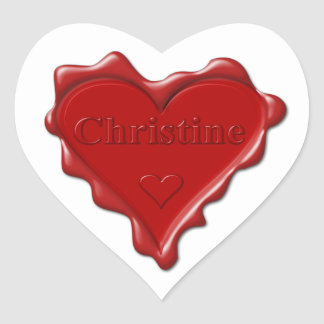 Christine. Red heart wax seal with name Christine.