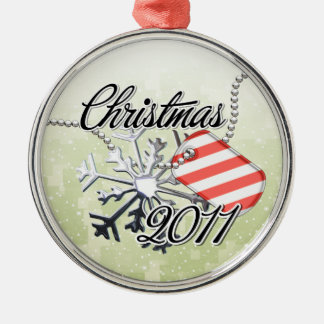 Christmas 2011 Candy Cane Tag Silver-Colored Round Decoration