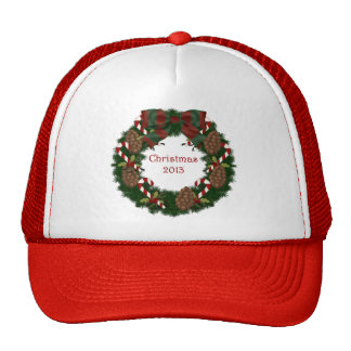 Christmas 2013 Pine Cone Wreath with Text Trucker Hats