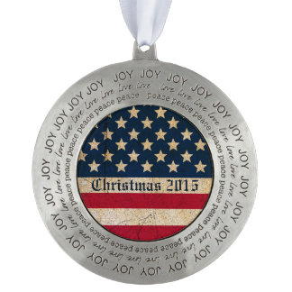 Christmas 2015 USA Flag Peace Love Joy Ornament Round Pewter Ornament