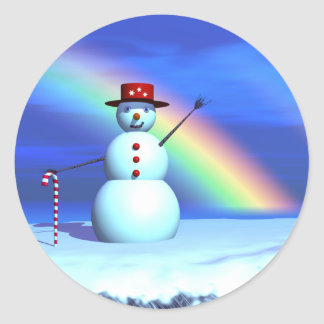 Christmas 3D Snowman Round Sticker