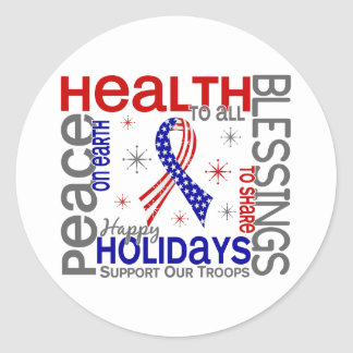 Christmas 4 Support Our Troops Round Sticker