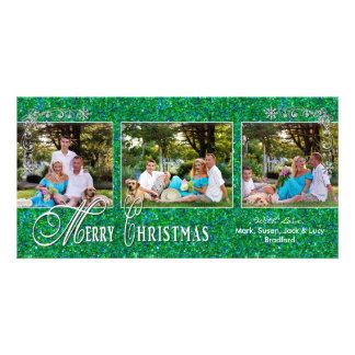 CHRISTMAS 4 X 8 PHOTO CARD - Glitzy Green
