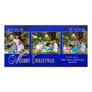 CHRISTMAS 4 X 8 PHOTO CARD - Ornate Blue