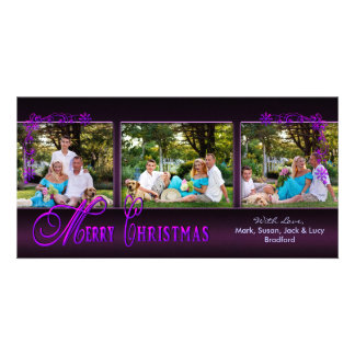CHRISTMAS 4 X 8 PHOTO CARD - Ornate Purple
