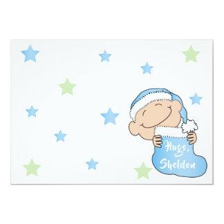"Christmas 7"" x 5"" Baby BlueThank You/2 sided/Flat/ Card"
