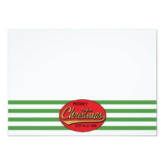 "Christmas 7"" x 5"" Retro Thank You/2 sided/Flat Card"
