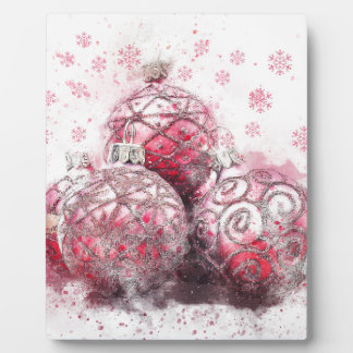 Christmas abstract decoration red balls plaque