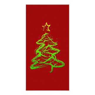 Christmas abstract tree custom photo card