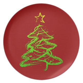 Christmas abstract tree plates