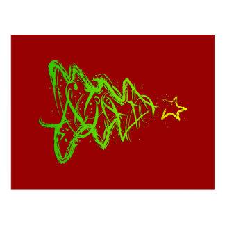 Christmas abstract tree postcard