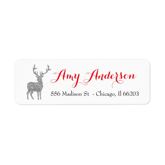 Christmas Address Label with Silver Glitter Deer