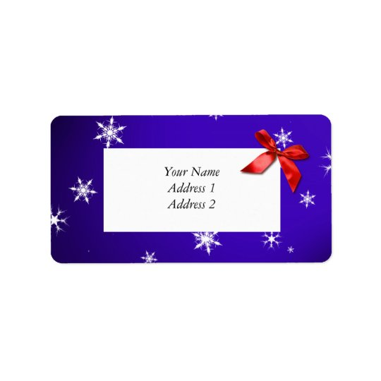 Christmas Address Labels Blue w Snowflakes & Bow