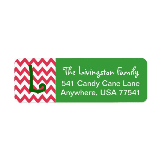 Christmas Address Labels- Chevron Monogram Return Address Label