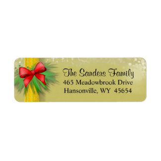 Christmas Address Return Label - GOLD with Red Bow Return Address Label
