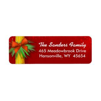 Christmas Address Return Label - RED -Ribbon & Bow Return Address Label