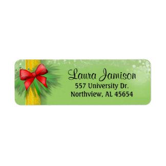 Christmas Address Return Label - Ribbon & Red Bow Return Address Label