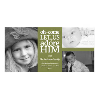 Christmas - Adore Him - 3 photo collage Picture Card