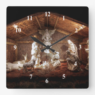 Christmas Advent Jesus Nativity Manger Scene Square Wall Clock