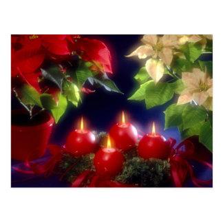 Christmas, Adventsk burning red candles festively, Postcard