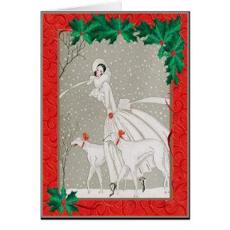 Christmas Afghan Hounds Card