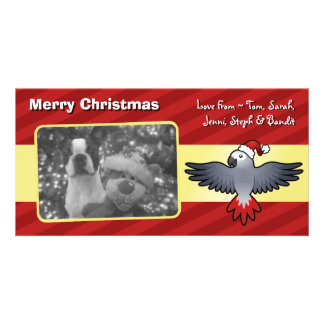 Christmas African Grey (medium bird) Personalized Photo Card