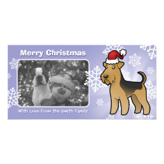 Christmas Airedale Terrier / Welsh Terrier Customised Photo Card