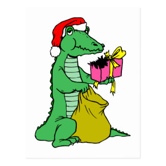 Christmas Alligator Postcard