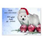 Christmas American Eskimo puppy 9 Cm X 13 Cm Invitation Card