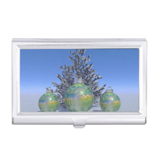 christmas and balls and tree business card holder