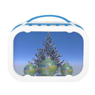 christmas and balls and tree lunch box