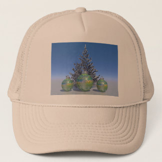 christmas and balls and tree trucker hat