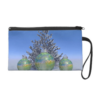 christmas and balls and tree wristlet