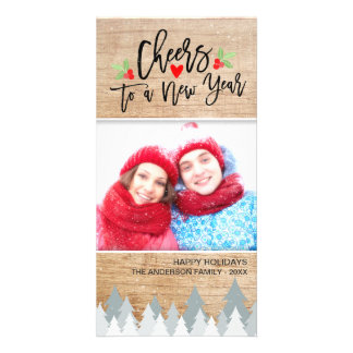 Christmas and Cheers to a New Year Greeting Photo Custom Photo Card