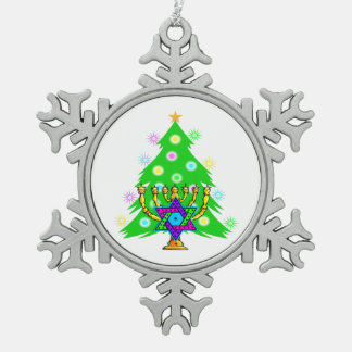 Christmas and Hanukkah Interfaith Snowflake Pewter Christmas Ornament