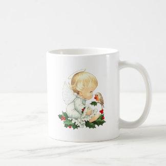 Christmas Angel and Robin Christmas Wishes Coffee Mug