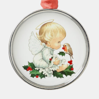 Christmas Angel and Robin Christmas Wishes Silver-Colored Round Decoration